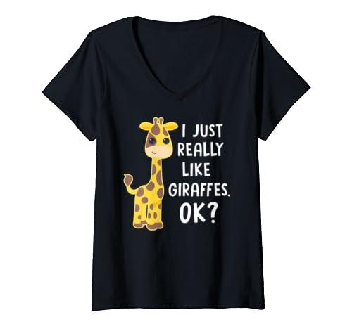 Womens I Just Really Like Giraffes Ok Toddler Boy Girl Animal Lover V Neck T Shirt