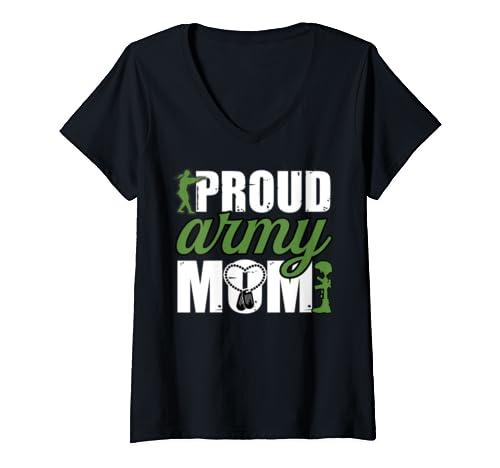 Womens Proud Army Mom, I Love My Veteran V Neck T Shirt