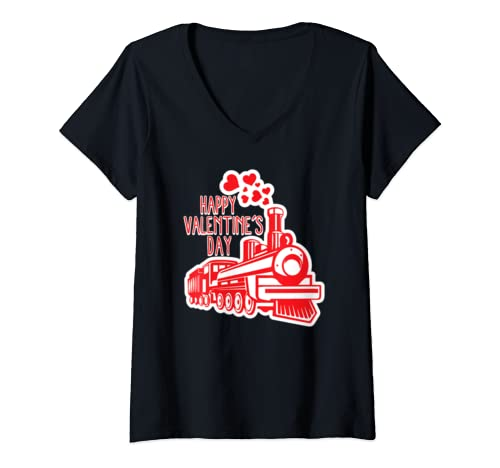 Womens Valentines Day Train Smoke Hearts Romantic Holiday Lovers V Neck T Shirt