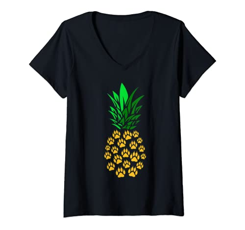Womens Pineapple Paw Prints Cute Gift For Dog Lover V Neck T Shirt