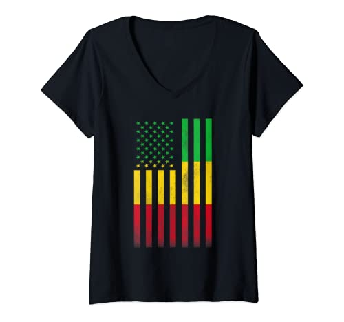 Womens Half Malian Flag | Vintage American Inside Me Usa Gift V Neck T Shirt