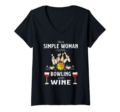 Womens I'm A Simple Woman I Love Bowling And Wine  V Neck T Shirt