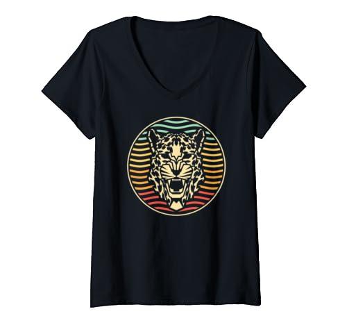 Womens Vintage Leopard Polygon Animal V Neck T Shirt