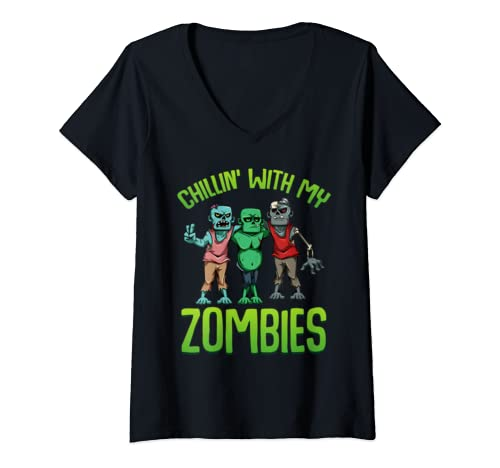 Womens Chillin With My Zombies Matching Halloween Costume Funny V Neck T Shirt