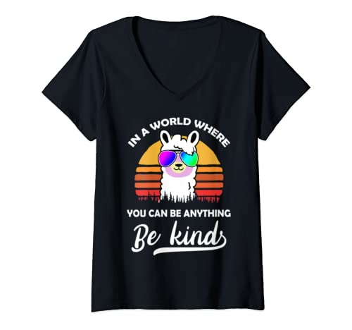 Womens In A World Where You Can Be Anything Be Kind Llama Womens V Neck T Shirt