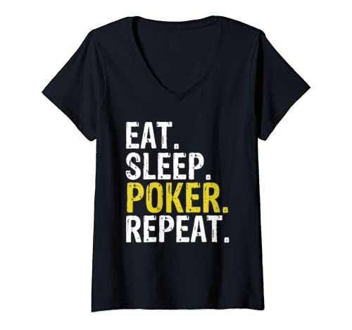 Womens Eat Sleep Poker Repeat Game Gift V Neck T Shirt