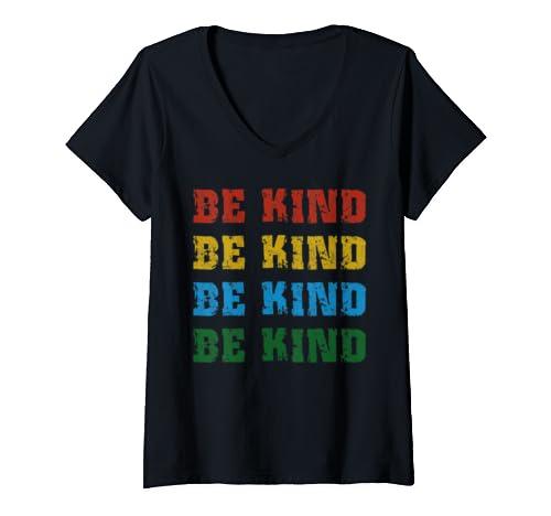 Womens Be Kind Choose Kindness Anti Bullying Vintage Retro V Neck T Shirt