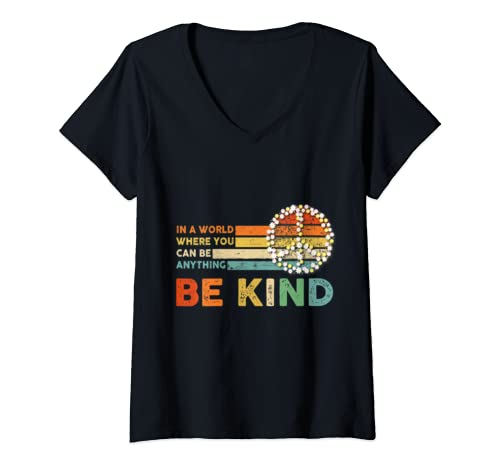 Womens In A World Where You Can Be Anything Be Kind   Kindness V Neck T Shirt