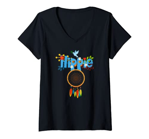 Womens Peace Sign Love 60s 70s Tie Dye Hippie Costume Tee Gift V Neck T Shirt