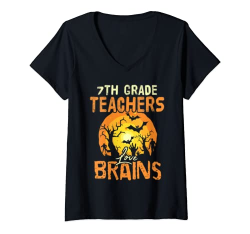 Womens 7th Grade Teachers Love Brains Funny Halloween Party Gift V Neck T Shirt