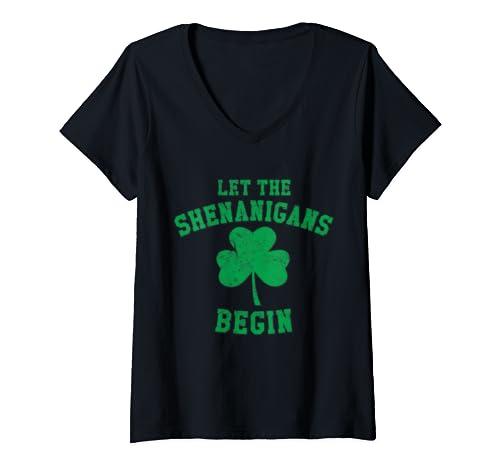 Womens Let The Shenanigans Begin St. Patrick's Day V Neck T Shirt