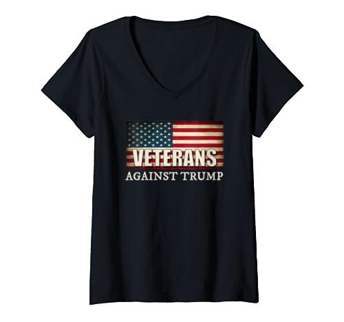 Womens Veterans Against Trump, Military Vet Anti Trump V Neck T Shirt