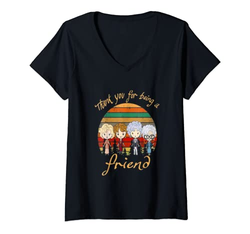 Womens Thank You For Being A Golden Friend Girls Vintage V Neck T Shirt
