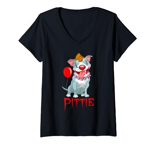 Womens Funny Pitbull Clown   Dog Mom Halloween Costume  V Neck T Shirt