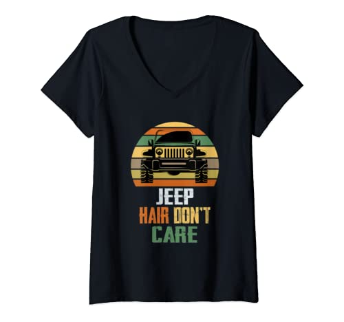 Womens Vintage Jeeps Jeep Hair Dont Care Retro Sunset Funny Jeeps  V Neck T Shirt