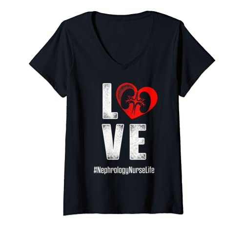 Womens Nephrology Nurse Love Dialysis Nursing Rn V Neck T Shirt