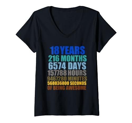 Womens 18 Years Old 216 Months T Shirt Vintage Retro 18th Birthday V Neck T Shirt