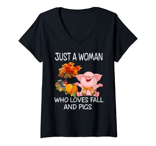 Womens Just A Woman Who Loves Fall And Pigs Pumpkin Fall Autumn V Neck T Shirt