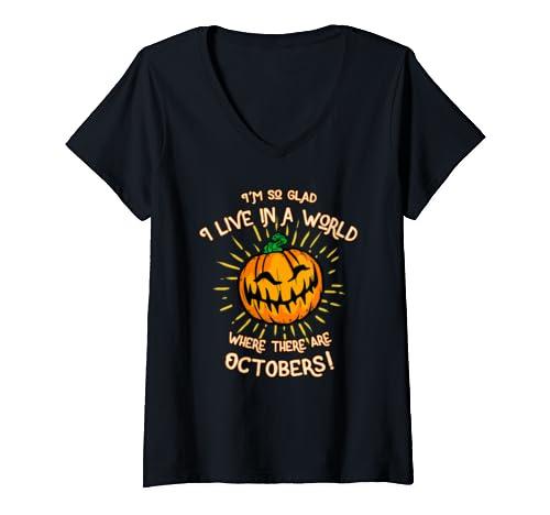 Womens October Lovers   Cute Halloween V Neck T Shirt