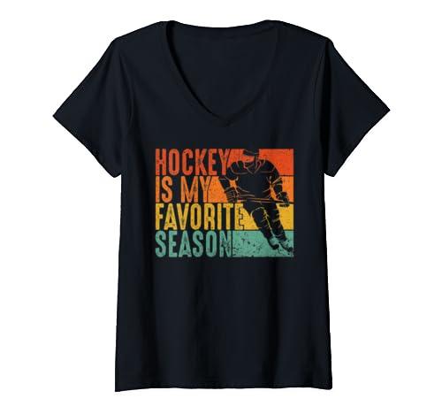 Womens Vintage Hockey Is My Favorite Season  V Neck T Shirt