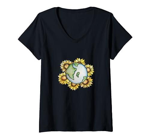Womens Sunflower Earth Climate Strike Earth Day Art  V Neck T Shirt