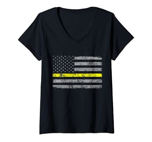 Womens Distressed Patriot American Thin Yellow Line Dispatcher Flag V Neck T Shirt