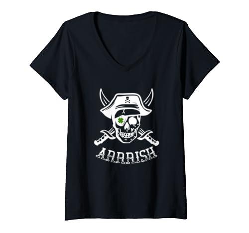 Womens Arrish Irish Pirate Funny St Patrick's Day Shamrock Holiday V Neck T Shirt