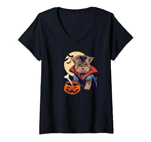 Womens Morkie Malkie Yorktese Vampire Dogula Halloween Meme Gift V Neck T Shirt
