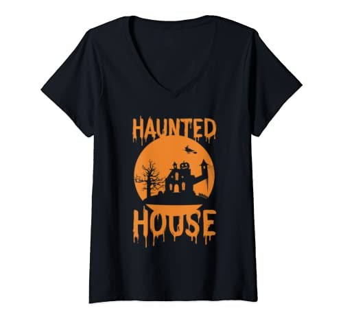 Womens Haunted House V Neck T Shirt