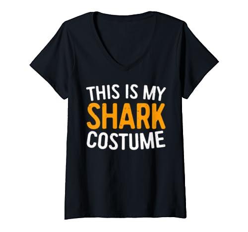 Womens This Is My Shark Costume T Shirt Halloween Gift Shirt V Neck T Shirt