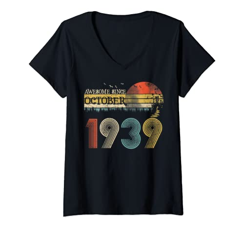 Womens Classic 80th Birthday Gift For Women Vintage October 1939 V Neck T Shirt