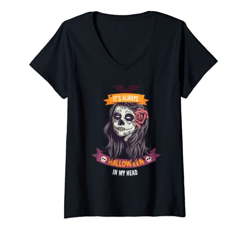 Womens It's Always Halloween In My Head Costume V Neck T Shirt
