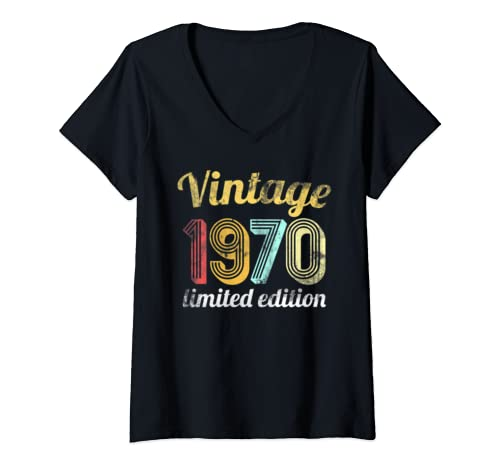 Womens Vintage 1970 Limited Edition 50th Birthday Gift Men Women V Neck T Shirt