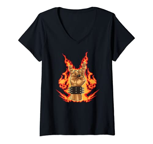 Womens Fire Devil Horns   Heavy Metal Hand Gesture V Neck T Shirt