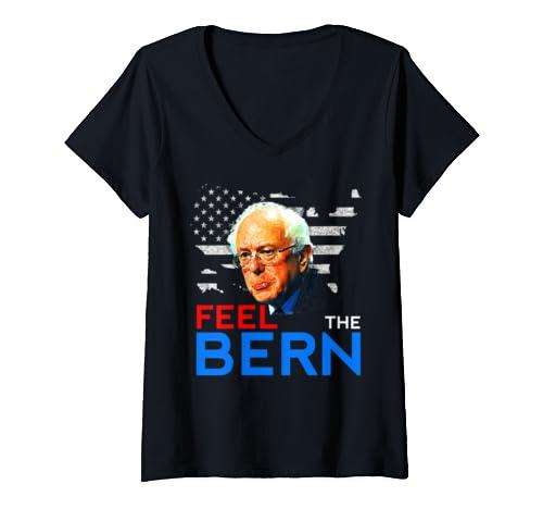 Womens Bernie Sanders 2020 Feel The Bern Men Women V Neck T Shirt