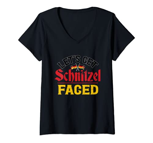 Womens Funny Oktoberfest Let's Get Schnitzel Faced German Flag  V Neck T Shirt