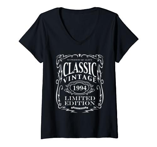 Womens Vintage 1994   25th Birthday Gift V Neck T Shirt