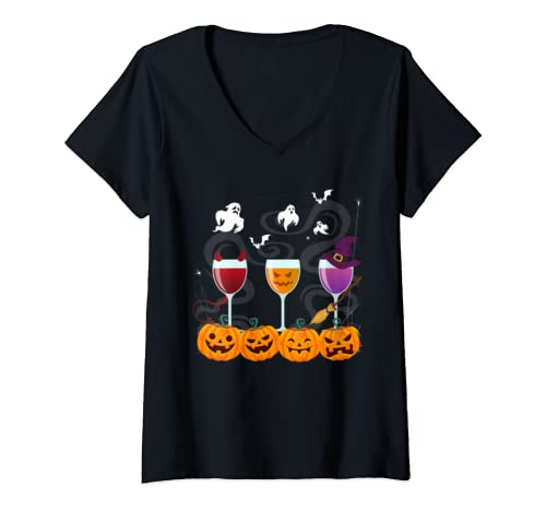 Womens Funny Drinking Lover Gifts Halloween Wine Glasses Costume V Neck T Shirt