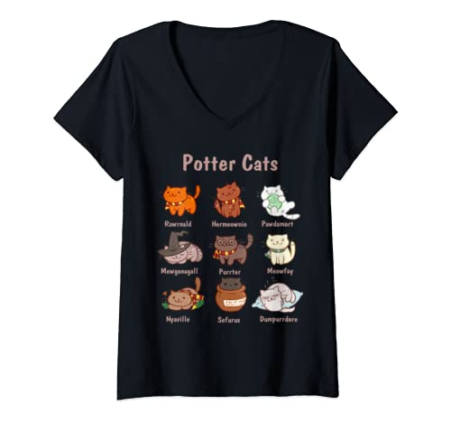 Womens Potter Cats Kitten Funny Harry Pawter Cute Gift V Neck T Shirt