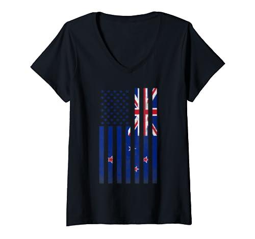 Womens Half Kiwi Flag | Vintage American Inside Me Usa Gift V Neck T Shirt