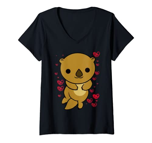 Womens Otter Love Valentine's Day Cute Hearts Romantic Animal Humor V Neck T Shirt