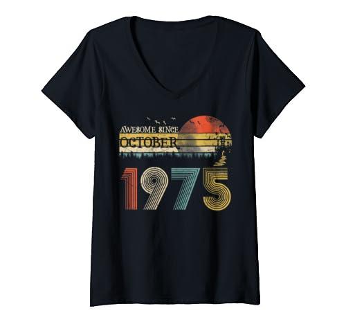 Womens Classic 44th Birthday Gift For Women Vintage October 1975 V Neck T Shirt