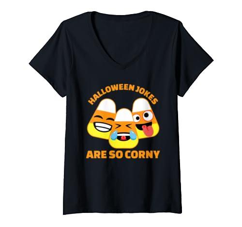 Womens Funny Candy Corn Halloween Jokes Are So Corny V Neck T Shirt