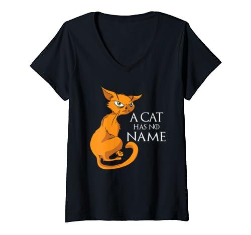 Womens A Cat Has No Name   Funny Cat V Neck T Shirt