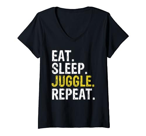 Womens Eat Sleep Juggle Repeat Juggling Juggler V Neck T Shirt