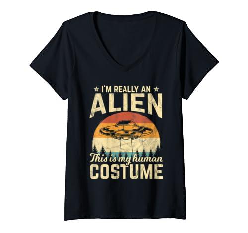 Womens Retro Vintage Silhouette Alien Halloween 70s Costume Gift V Neck T Shirt
