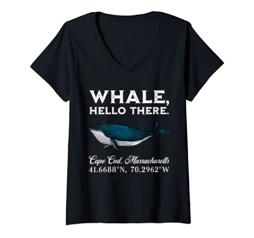 Womens Cape Cod, Massachusets Whale Hello There Coordinates Gift V Neck T Shirt