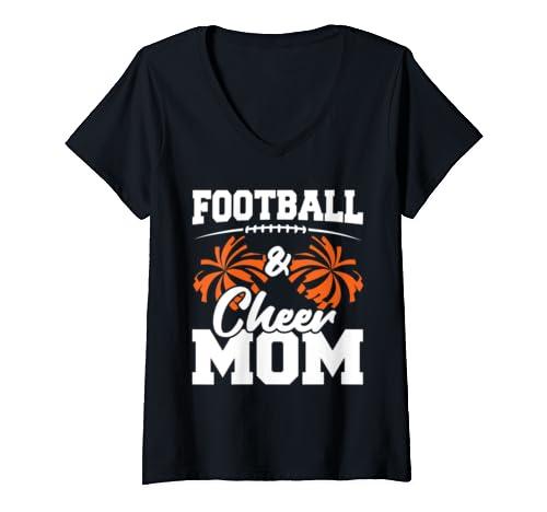 Womens Football And Cheer Mom   High School Sports   Cheerleading V Neck T Shirt