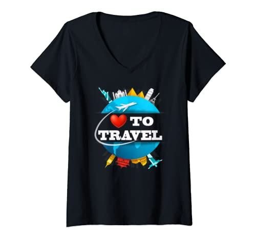 Womens Love To Travel Matching Family Vacation  V Neck T Shirt