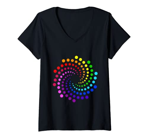 Womens Rainbow Dot Make Your Own Mark And See Where It Takes You V Neck T Shirt
